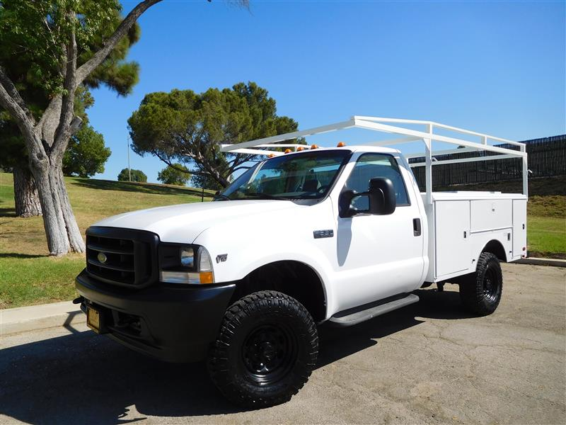 2002 FORD F-350 UTILITY WhiteGrey 2002 ford f-350 4x4 utility truck v-10 auto trans ac low 1